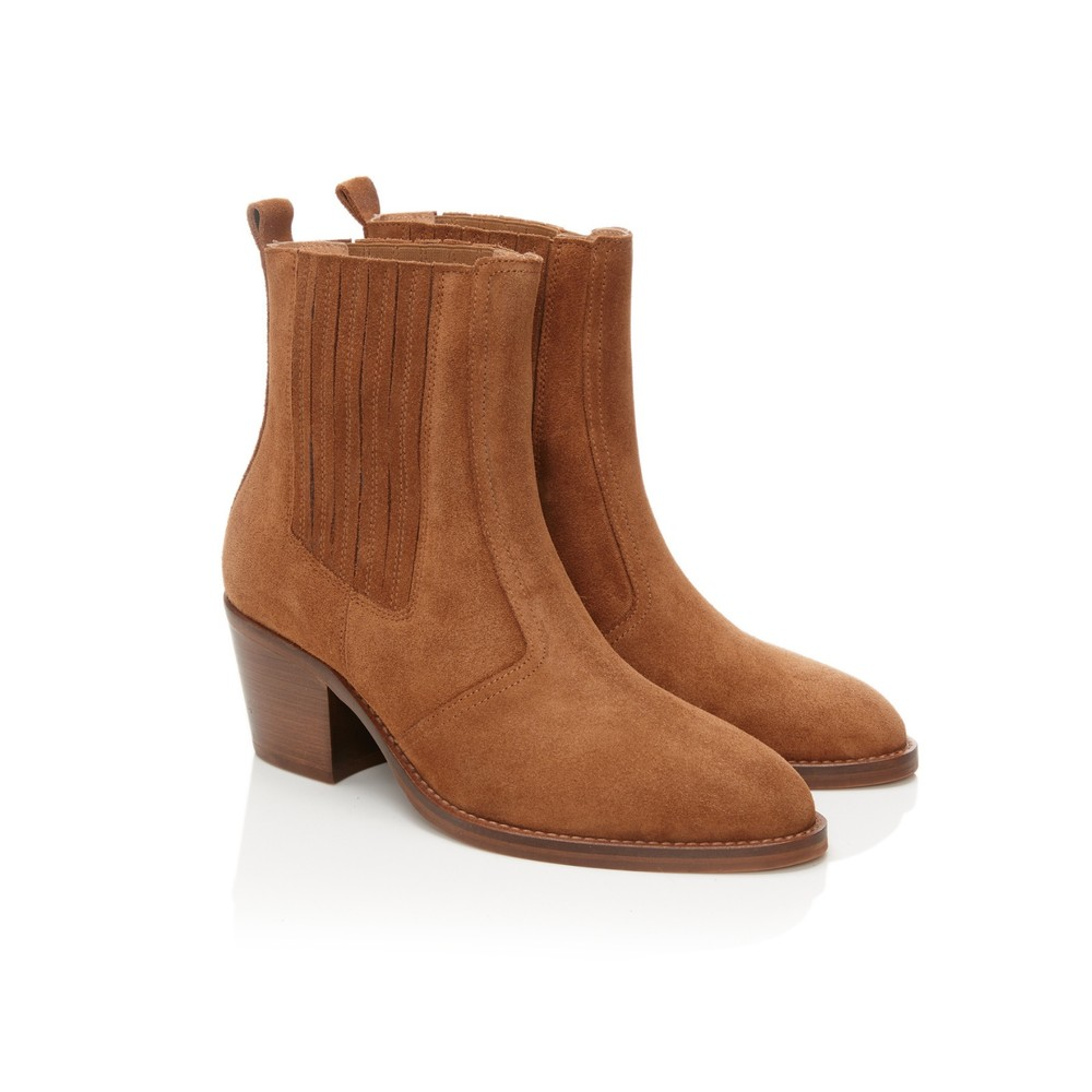 Air & Grace Bardot Ankle Boots in Tan Camel