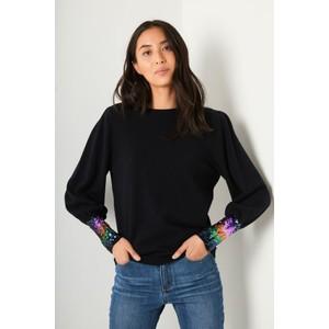 Wyse Fran Sequin Cuff in Black