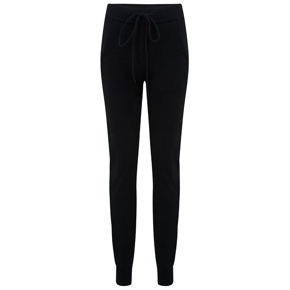 KatieAndJo Cashmere Fitted Joggers in Black Black