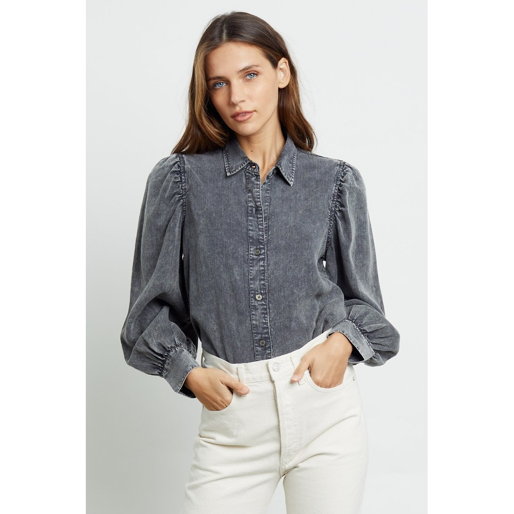 Rails Angelica Puff Sleeve Blouse in Black Acid Wash Black