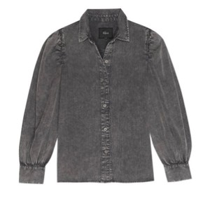 Rails Angelica Puff Sleeve Blouse in Black Acid Wash