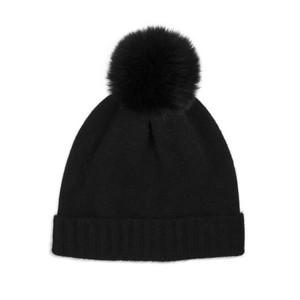 Somerville Scarves Black Cashmere Knit Hat with Black Pom Pom