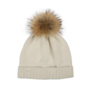 Somerville Scarves Cream Cashmere Knit Hat with Natural Pom Pom
