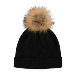Somerville Scarves Black Cashmere Knit Hat with Natural Pom Pom