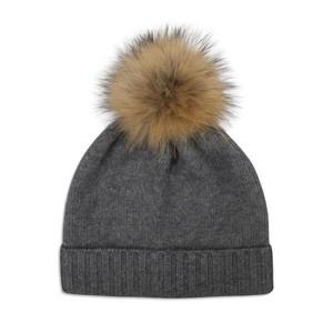 Somerville Scarves Grey Cashmere Knit Hat with Natural Pom Pom