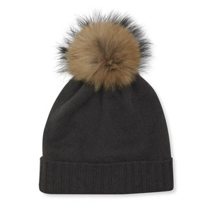 Somerville Scarves Mole Cashmere Knit Hat with Natural Pom Pom