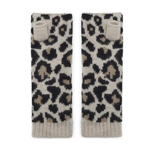 Somerville Scarves Leopard Knitted Wrist Warmers in Camel
