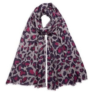 Somerville Scarves Pashmina Printed Leopard Scarf in Navy and Pink