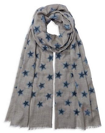 Somerville Scarves Natural Pashmina with Grey Velvet Stars Grey