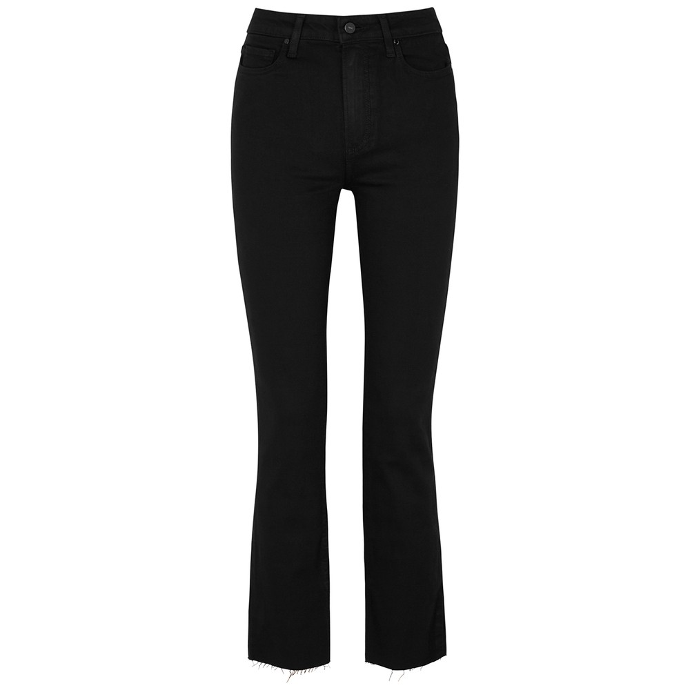 Paige Cindy High Rise Cigarette Jeans in Black Shadow Black