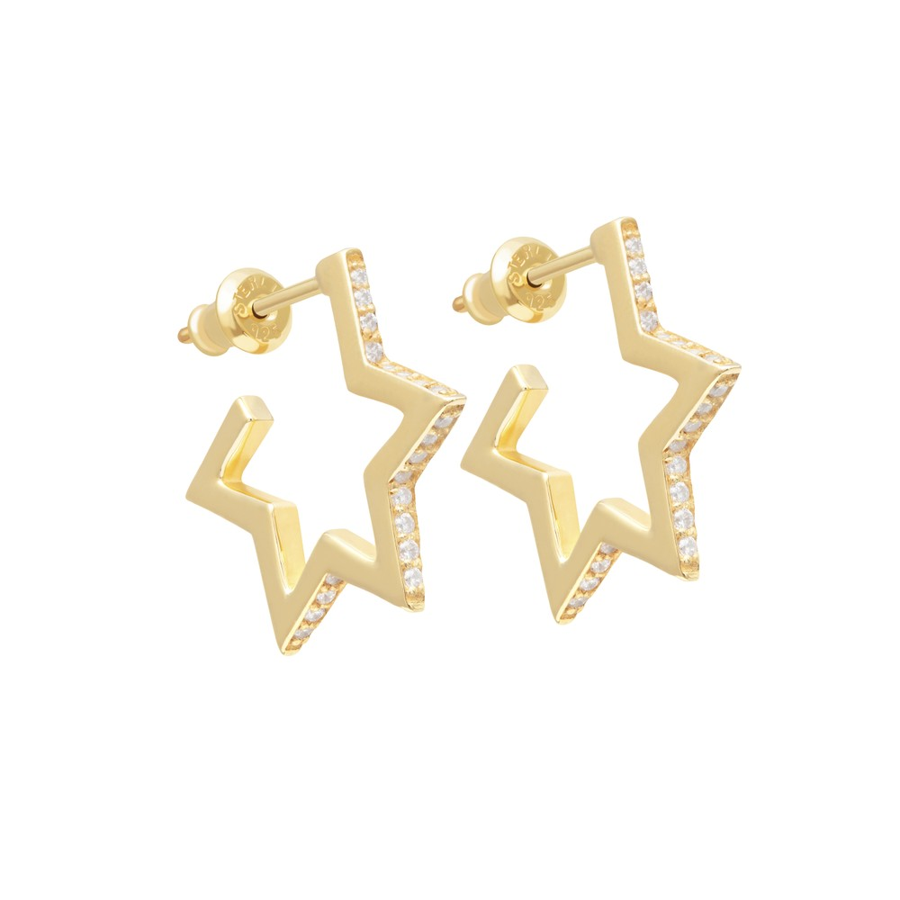 Tada & Toy Crystallized Star Hoops Gold