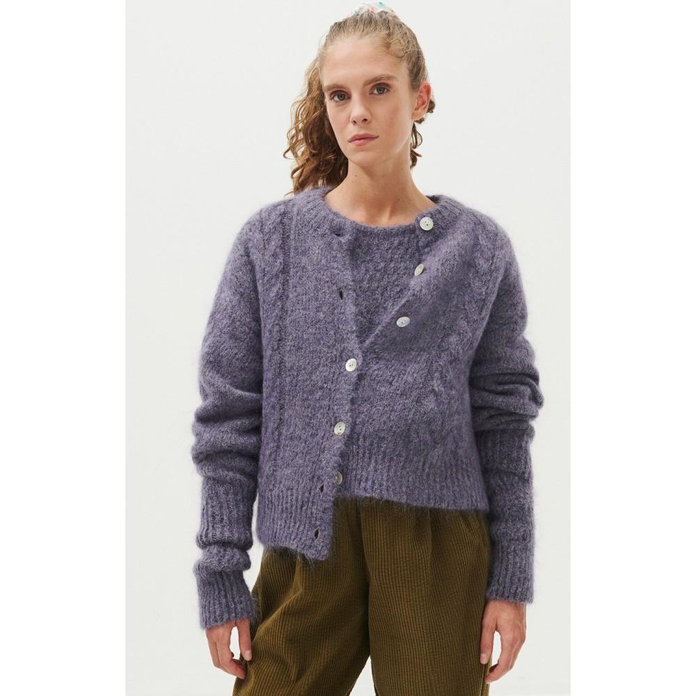 American Vintage Dol Cardigan in Violet Chine Purple