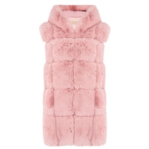 Jay Ley Faux Fur Hooded Gilet in Pink