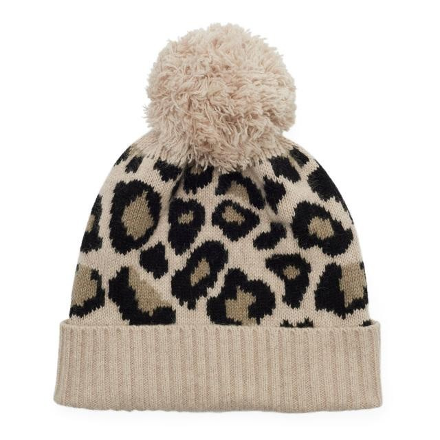 Somerville Scarves Leopard Knitted Bobble Hat Leopard