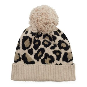 Somerville Scarves Leopard Knitted Bobble Hat