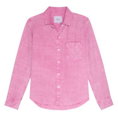 Rails Ingrid Raw Shirt in Pink Acid Wash Pink