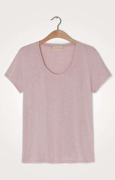 American Vintage Jacksonville Round Neck T Shirt in Milkshake Vintage Pink