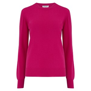 KatieAndJo Round Neck Cashmere Jumper in Citronella in Fuschia