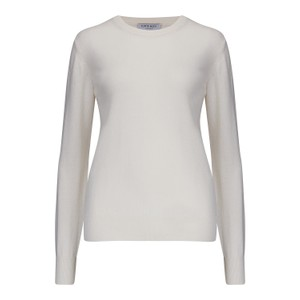 KatieAndJo Round Neck Cashmere Jumper in Citronella in White