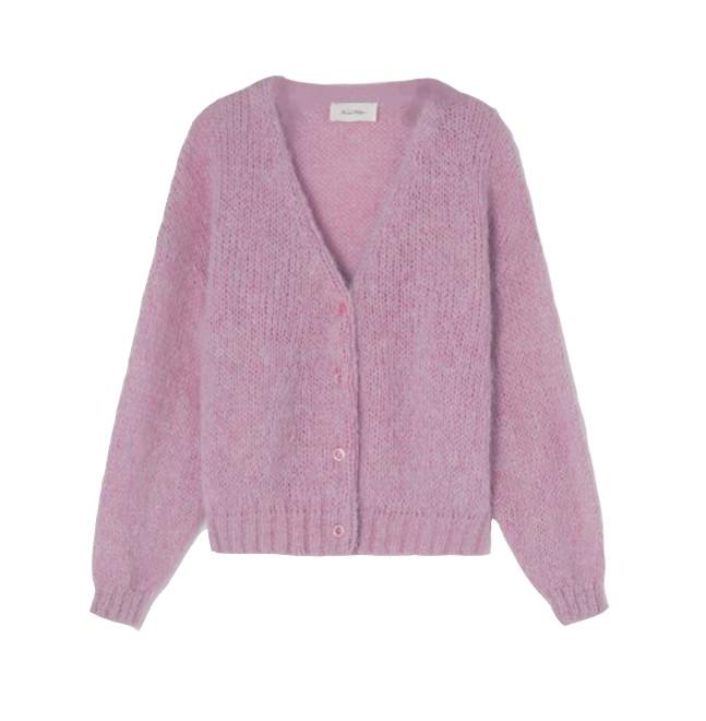 American Vintage Vogbay Cardigan in Prunelle Chine Pale Pink