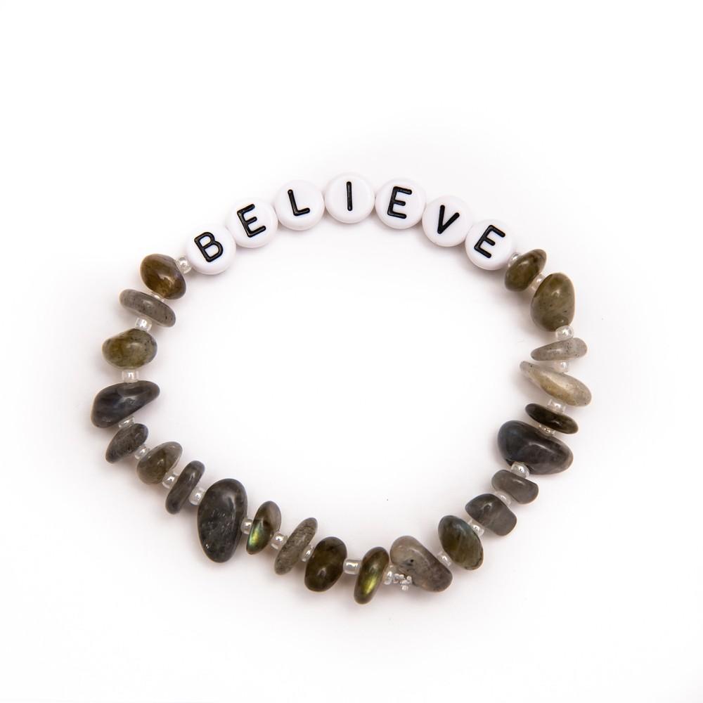 TBalance Believe Crystal Healing Bracelet Grey
