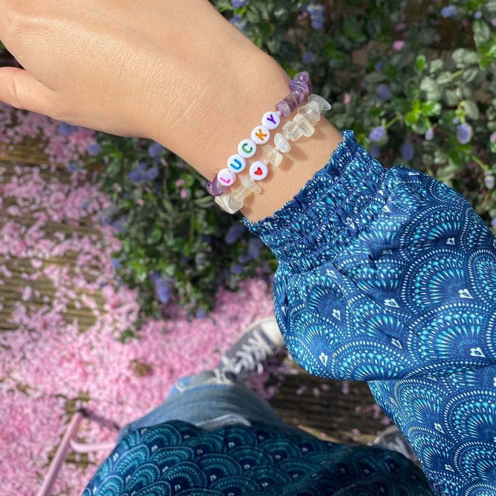 TBalance Lucky Multi Crystal Healing Bracelet Purple