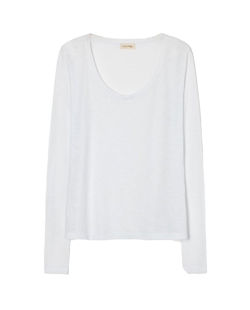 American Vintage Jacksonville Long Sleeve Round Neck T Shirt in White White