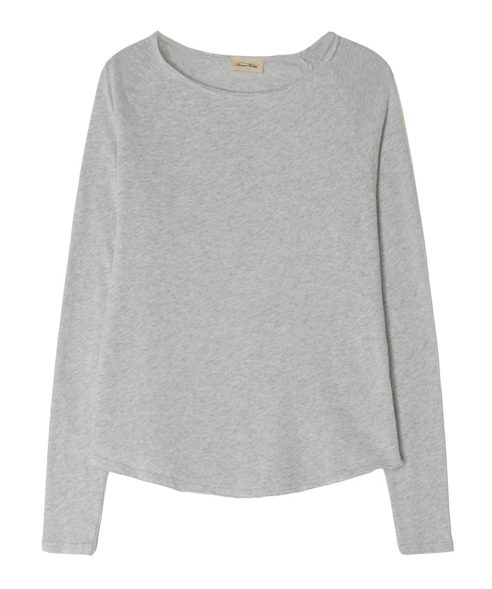 American Vintage Sonoma Long Sleeve T-Shirt in Arctic Chine Light Grey