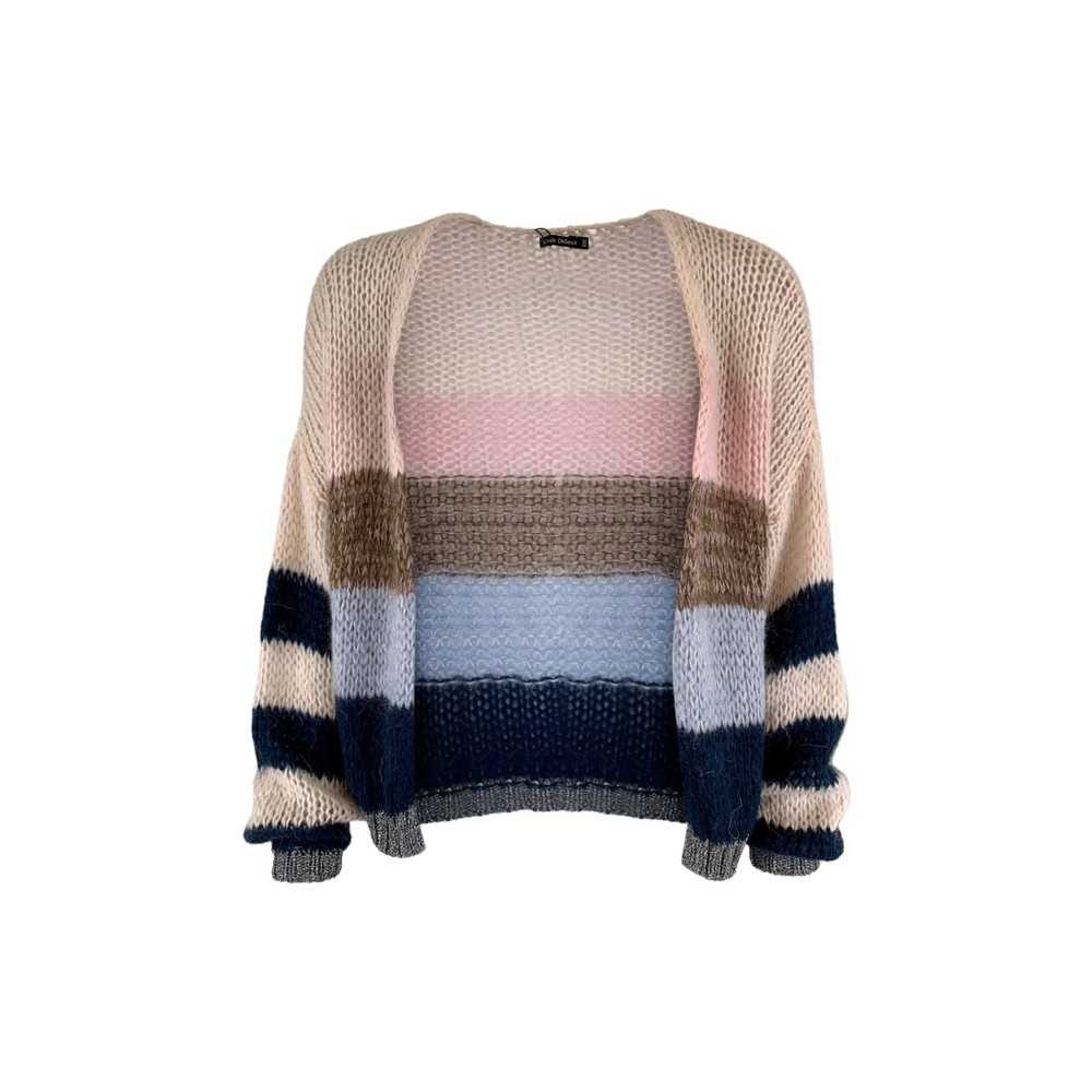 Black Colour  Filippa Striped Cardigan in Navy and Pink Navy