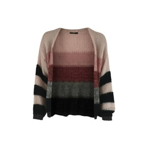 Black Colour Filippa Striped Cardigan in Black and Pink