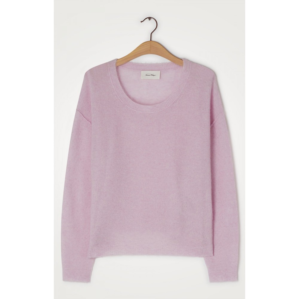 American Vintage Razpark Sweater in Orchid Chine Pale Pink