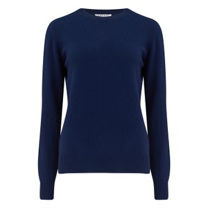 KatieAndJo Round Neck Cashmere Jumper in Citronella in Navy