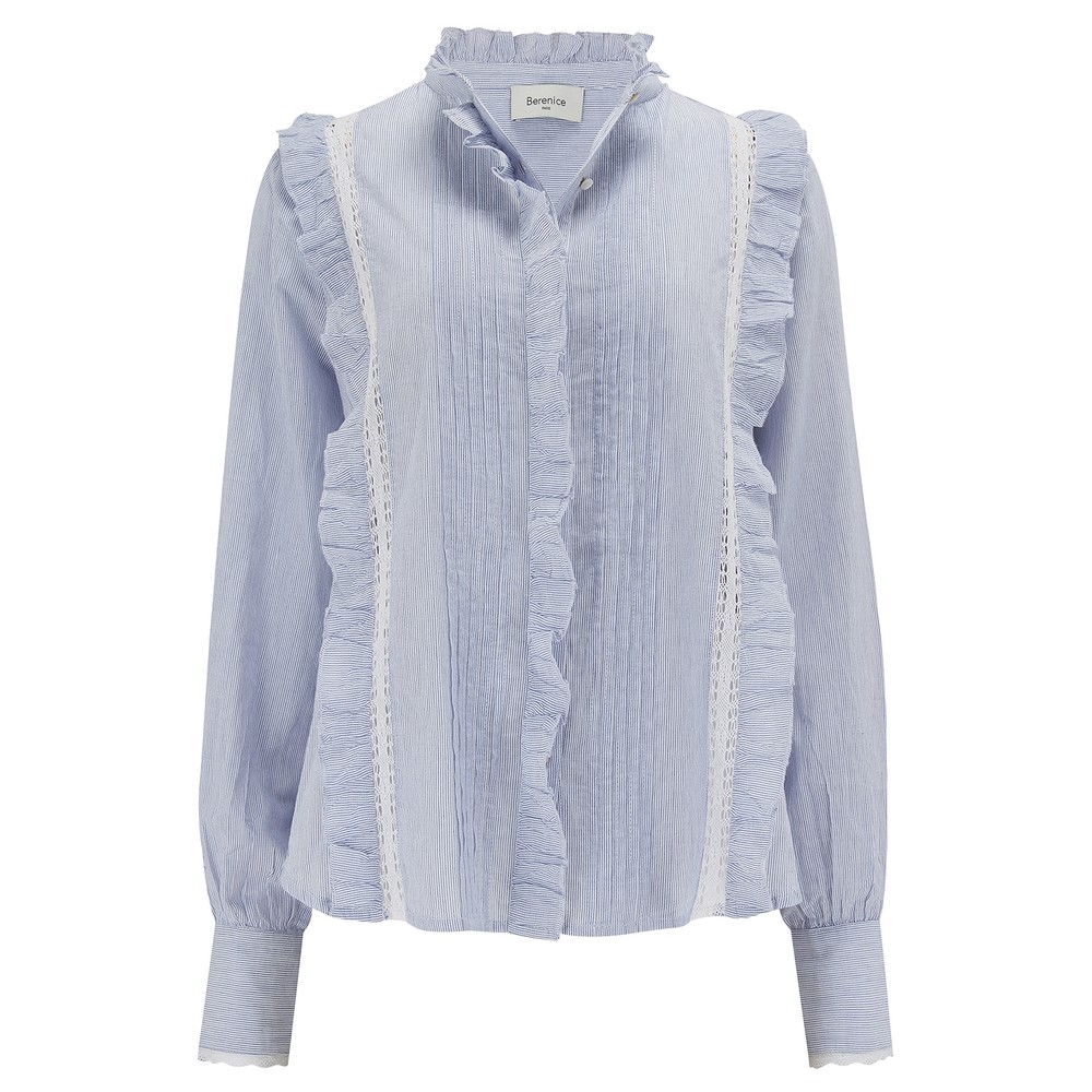 Berenice Striped Frill Blouse Blue