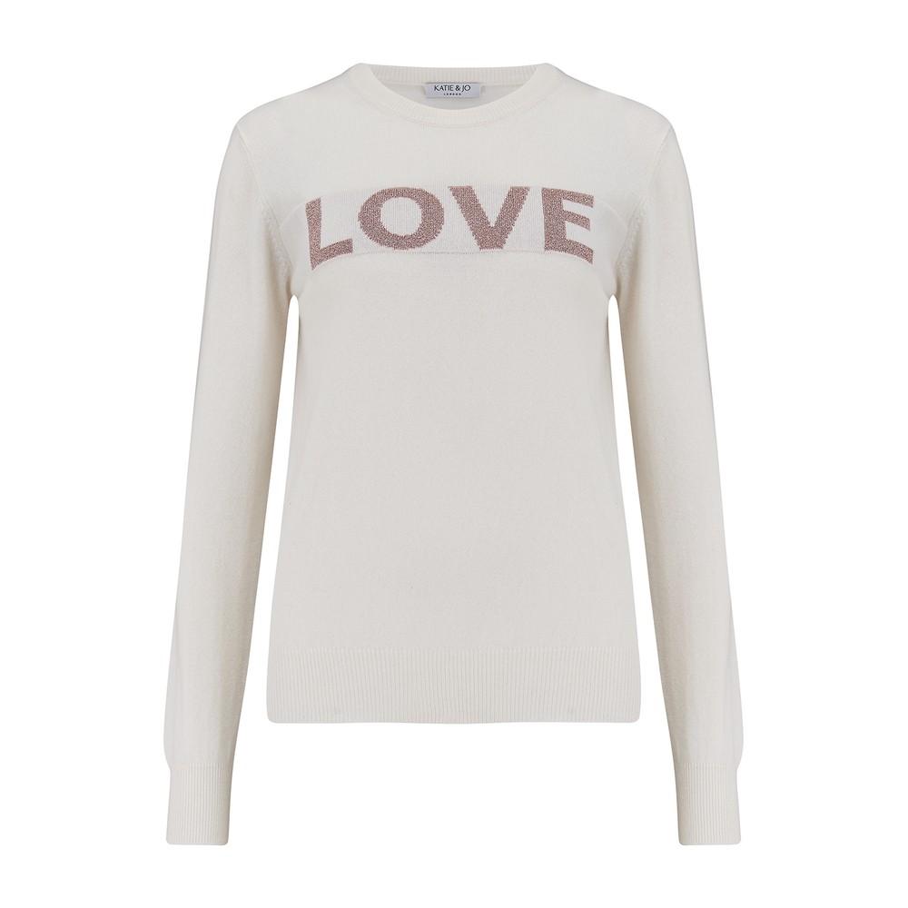 KatieAndJo Love Sweater Ecru with Lurex Pink Metallic