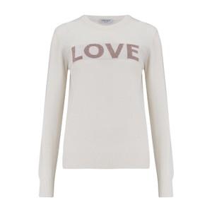 KatieAndJo Love Sweater Ecru with Lurex Pink