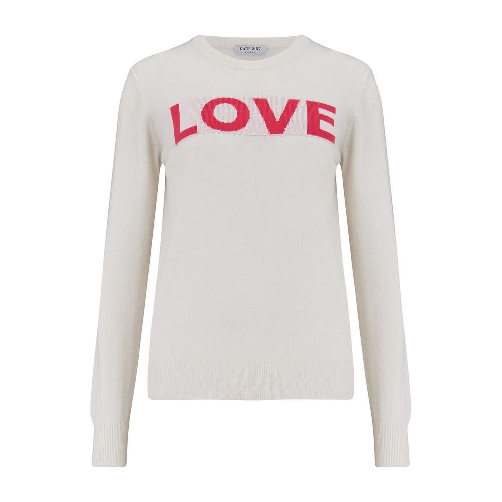 KatieAndJo Love Sweater Ecru with Lipstick Red