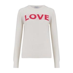 KatieAndJo Love Sweater Ecru with Lipstick