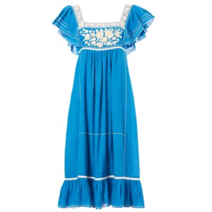 Mabe Alberta Dress in White in Bright Blue