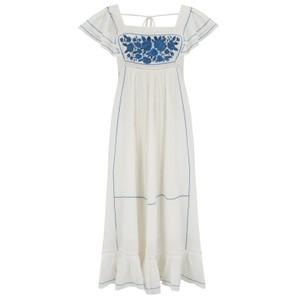 Mabe Alberta Dress in Blue in White