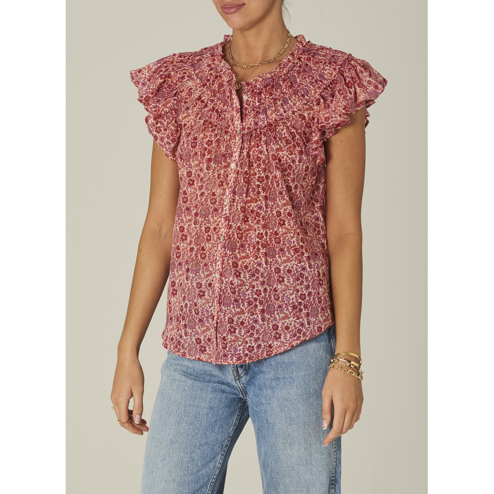 Mabe Ellie Short Sleeved Frill Top in Pink Pink
