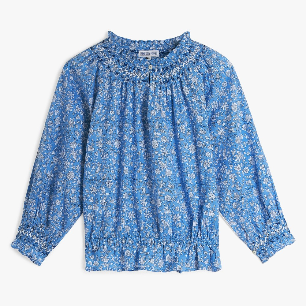 Pink City Prints Beatrice Blouse in Cornflower Blue Blue