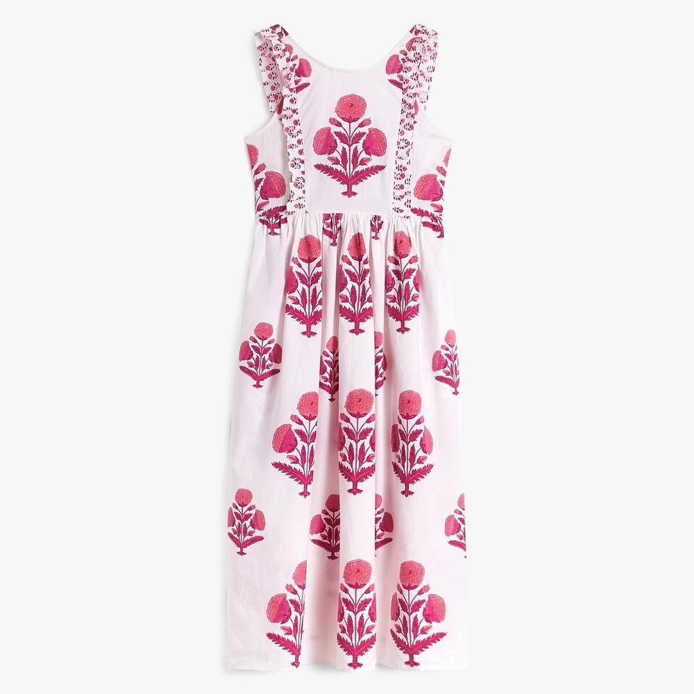 Pink City Prints Botanical Dress in Rose Marigold White