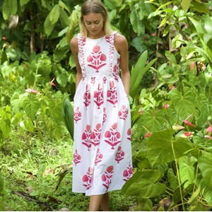 Pink City Prints Botanical Dress in Rose Marigold