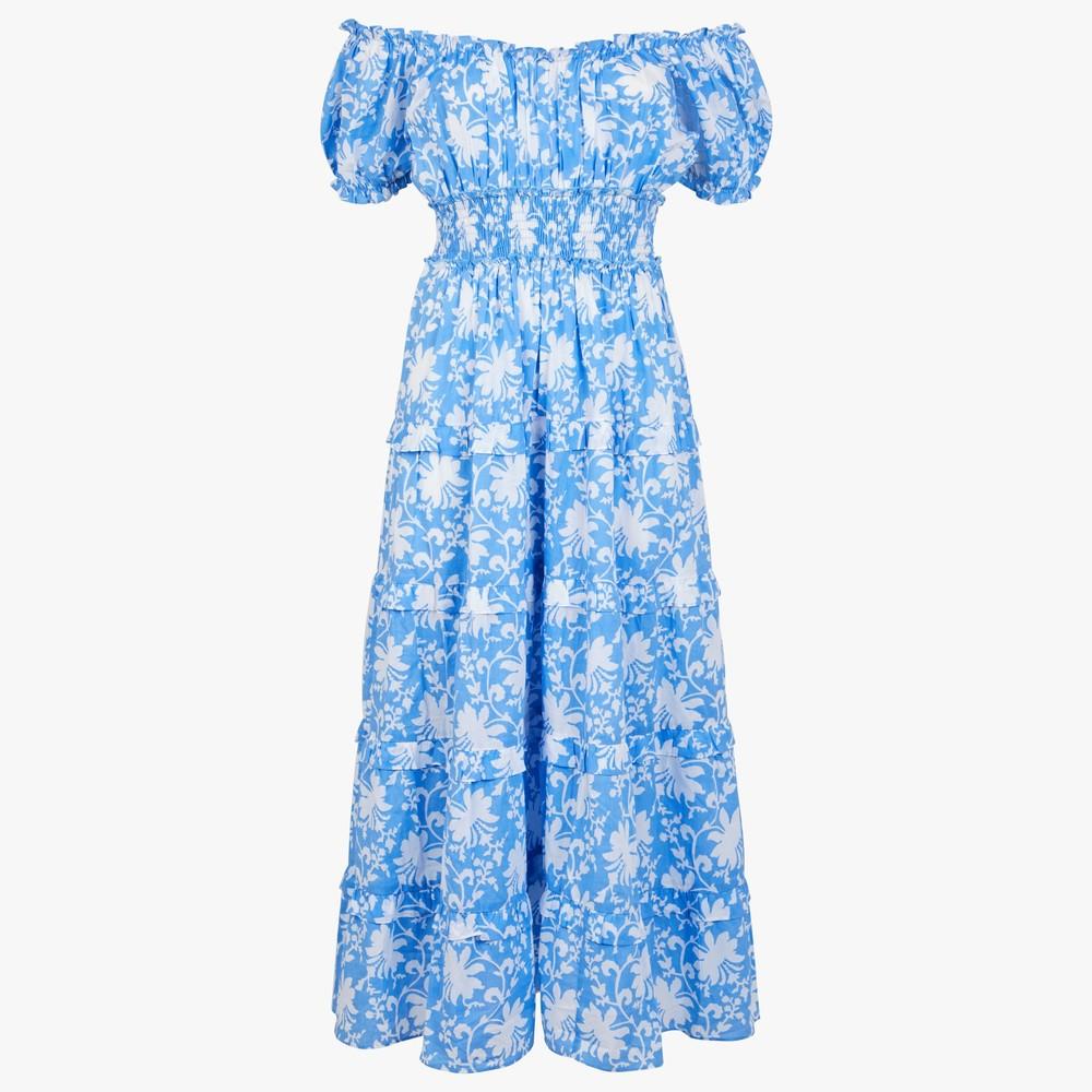 Pink City Prints Rah Rah Dress in Cornflower Blue Blue