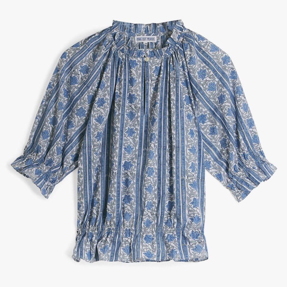Pink City Prints Beatrice Short Sleeve Blouse Blue
