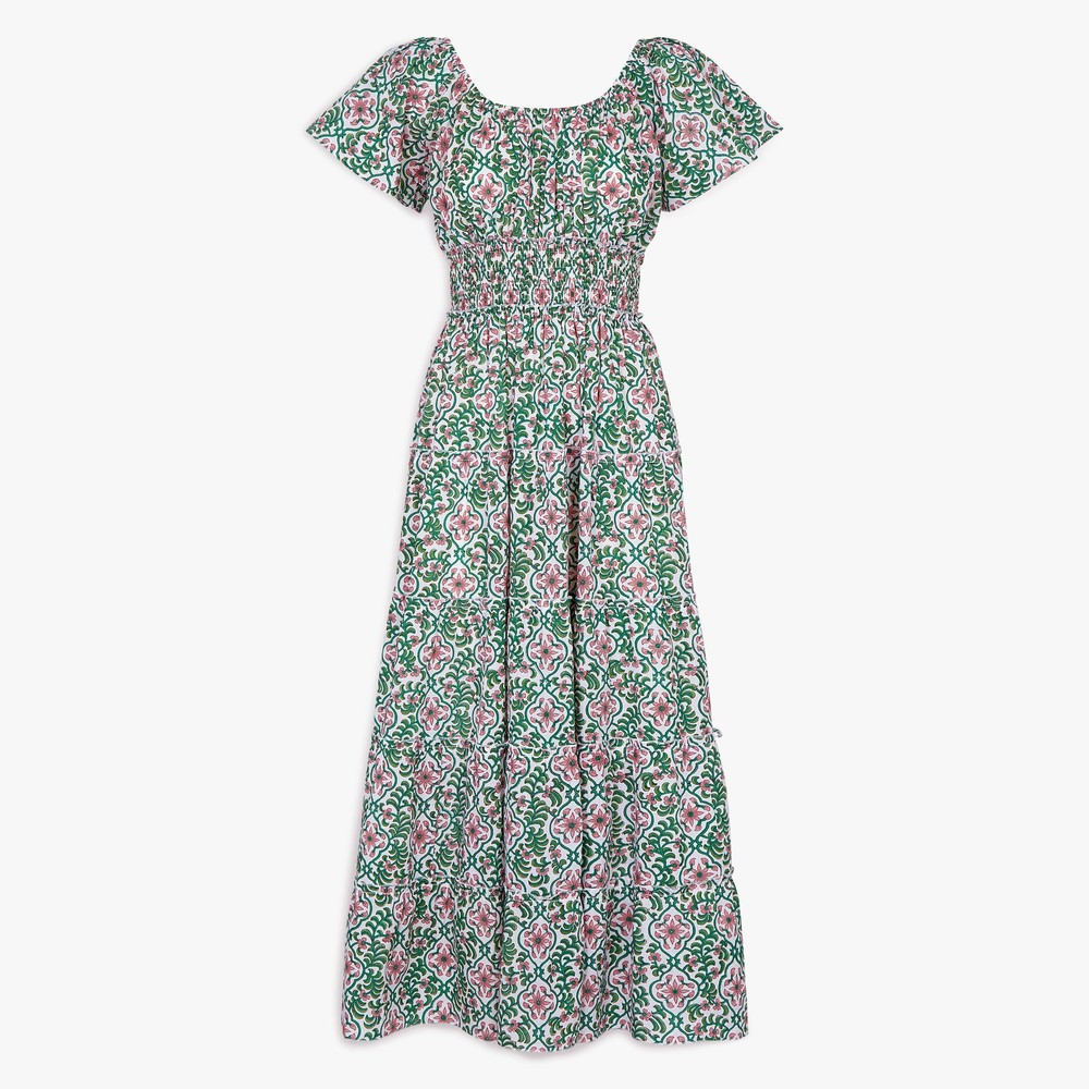 Pink City Prints Rah Rah Spanish Dress in Retro Blush Multicoloured