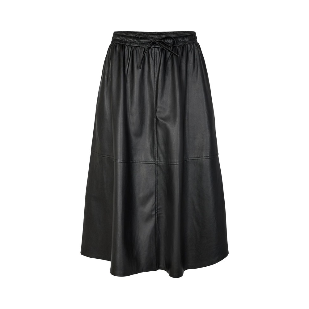 Sofie Schnoor Katelyn Leather Midi Skirt Black