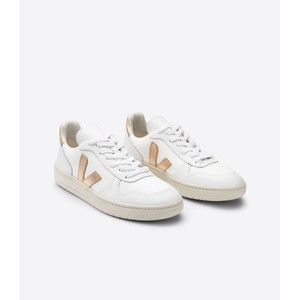 Veja V10 Leather Trainers in Platine