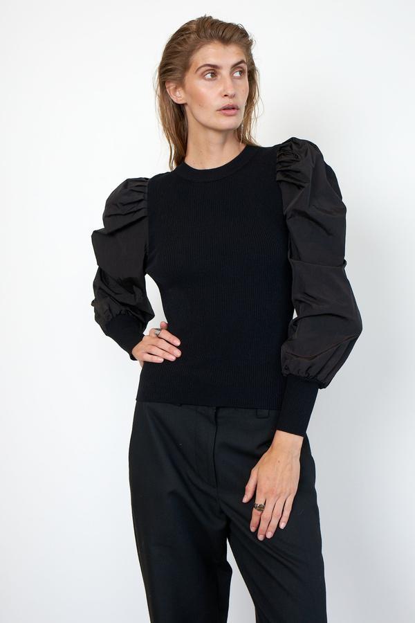 Second Female Malia Knit 0 Neck Top Black