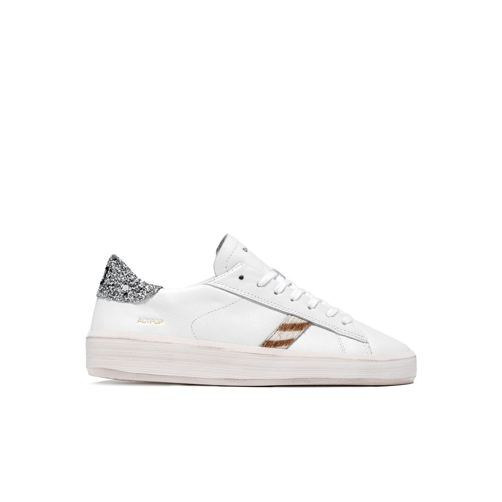 Date Ace Pop Glitter White and Silver Trainers White
